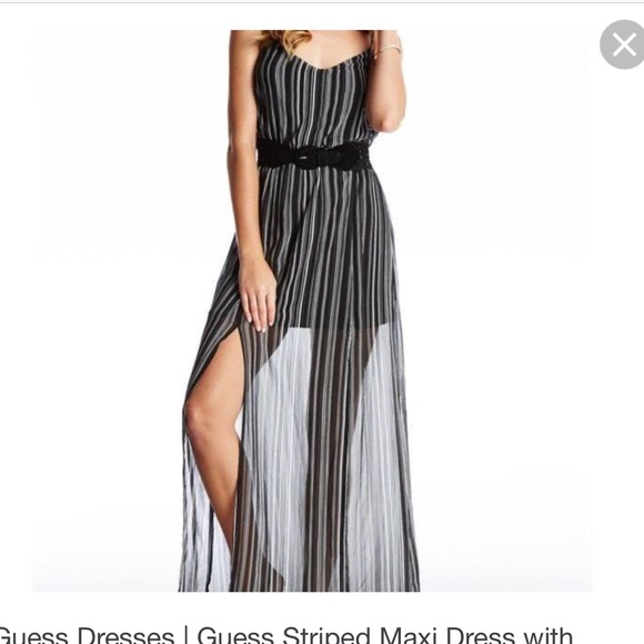 e646f0630a5 Guess black and white maxi dress with double slit
